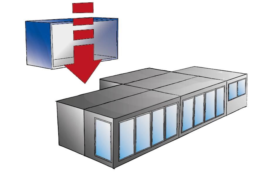 Module (3m x 6m) - längs und quer kombinierbar für  QUB® Container-Restaurant.