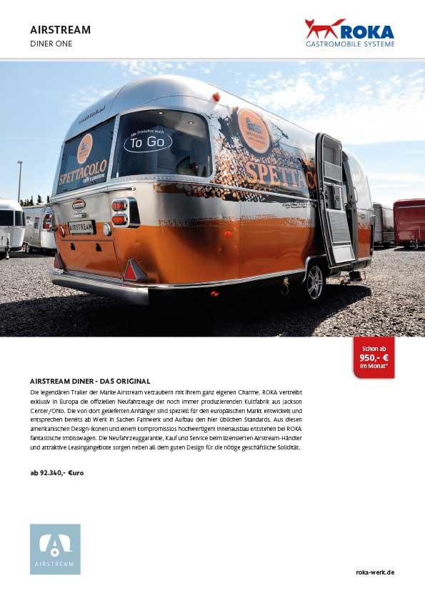 Datenblatt zum Veraufswagen Airstream Diner One