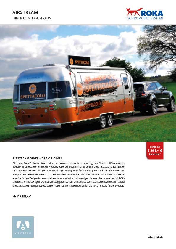 Infos & Preise für Verkaufsanhänger Airstream mit Gastraum