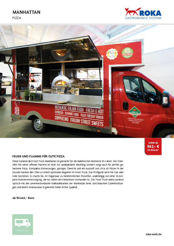 Datenblatt für Food Truck Manhattan PIZZA