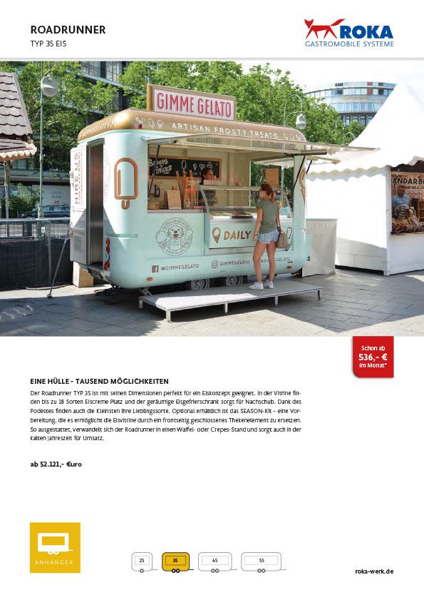 Datenblatt für Eiswagen Roadrunner.