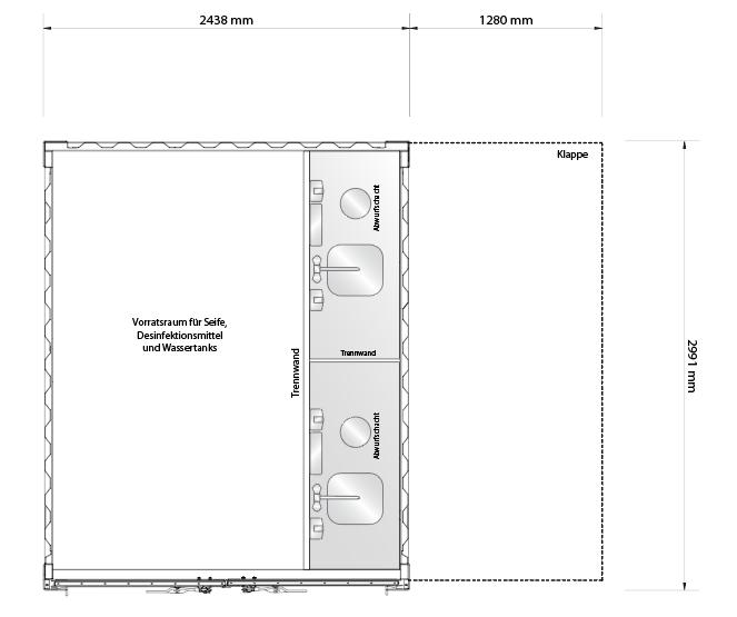 Grundriss für Hygienestation mit Grundausstattung