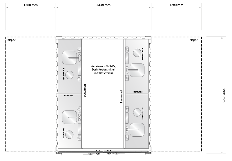 Grundriss für Hygienestation mit Waschstationen an beiden Seiten.