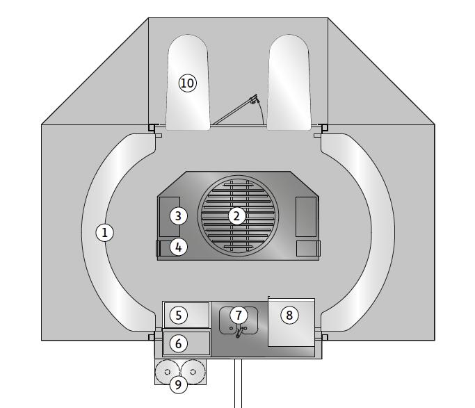 Grundriss für Grillwagen mit Schwenkgrill.