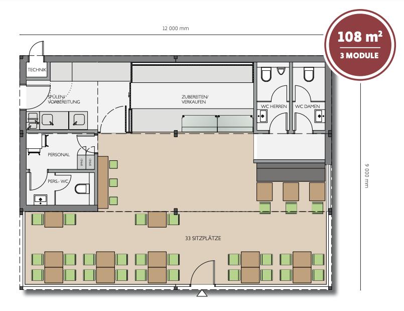 Grundriss für Restaurant-Container QUB® Version M
