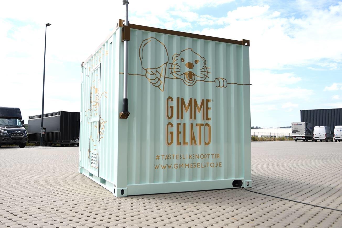 Rückseite des Eis-Containers