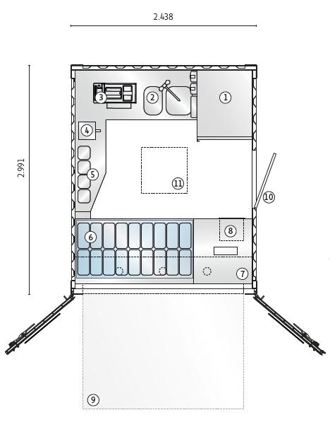Grundriss vom Eis-Container.