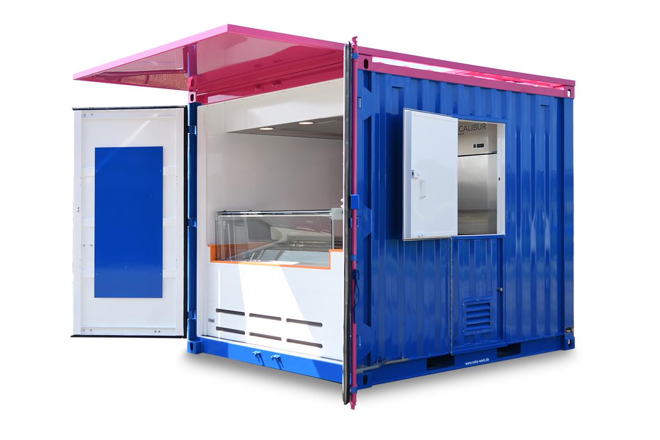 10-Fuß-Frachtcontainer für den Eisverkauf. Mit festem Vordach.