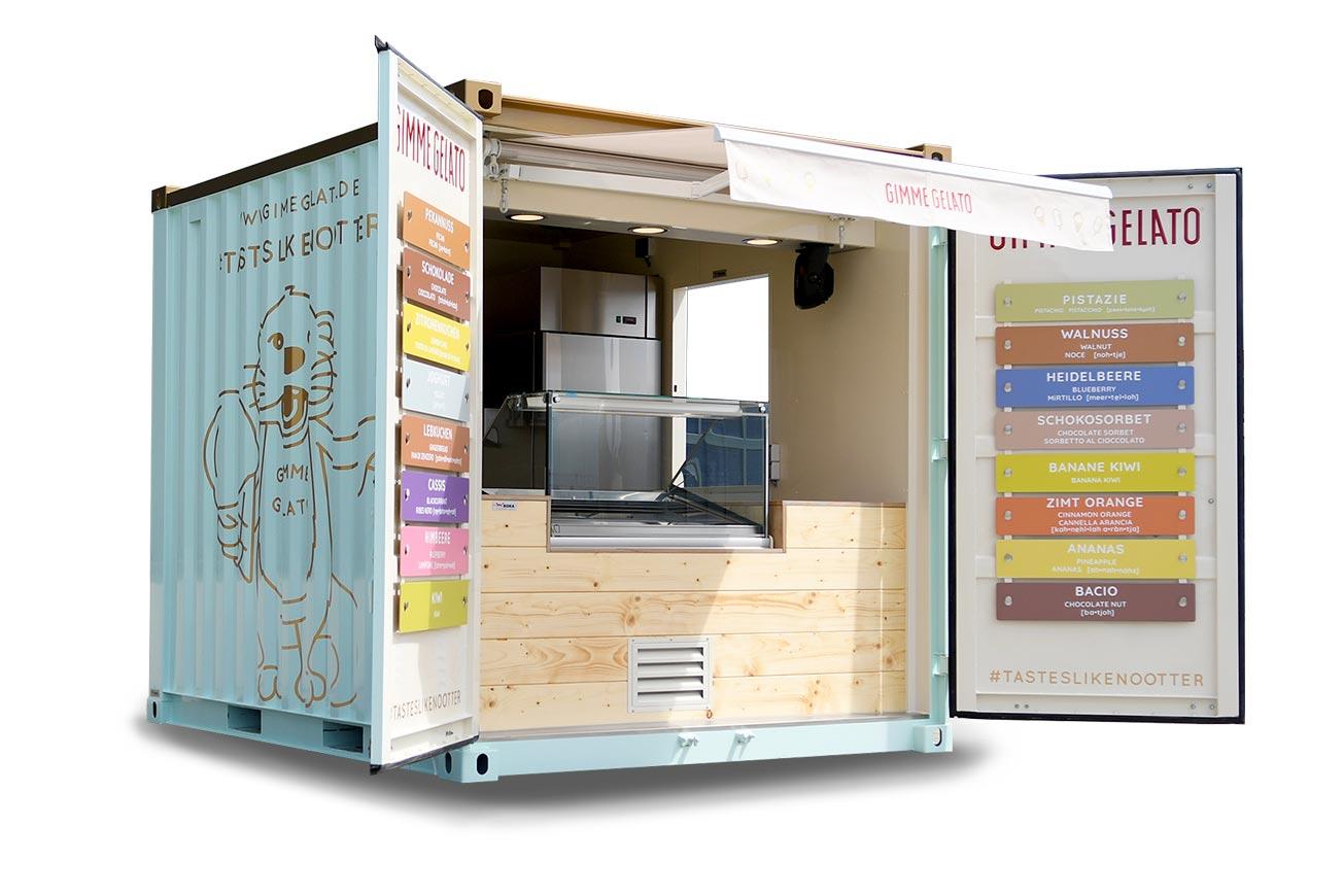 Eis-Container auf Basis eines 10-Fuss-Frachtcontainers.