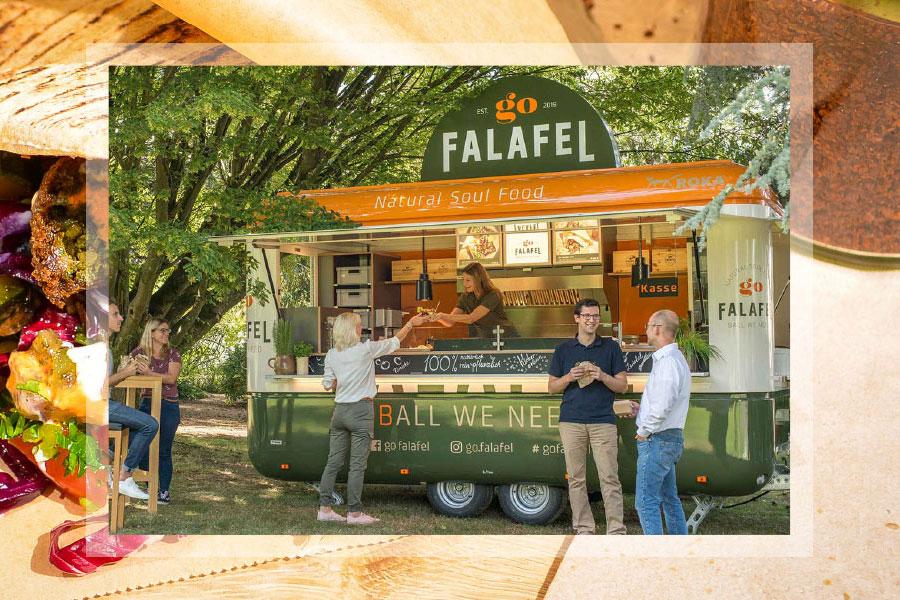 Verkaufsanhänger für Falafel.