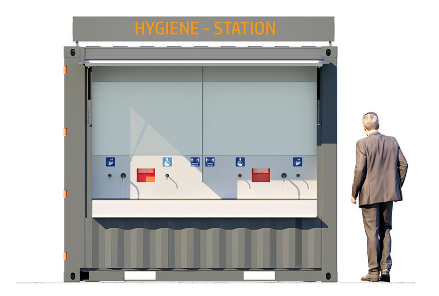 Hygienecontainer zum Händewaschen.