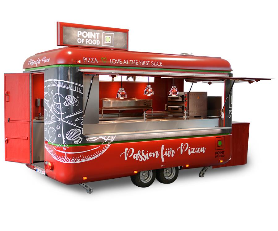 Verkaufsanhänger als Pizzamobil.