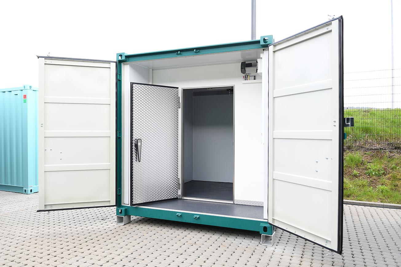 Gastro Seecontainer 10 ft als Kühlcontainer.