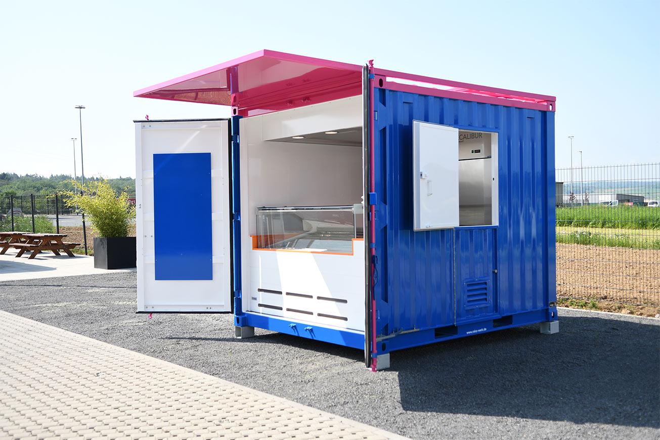 Bunter Container für den Eisverkauf