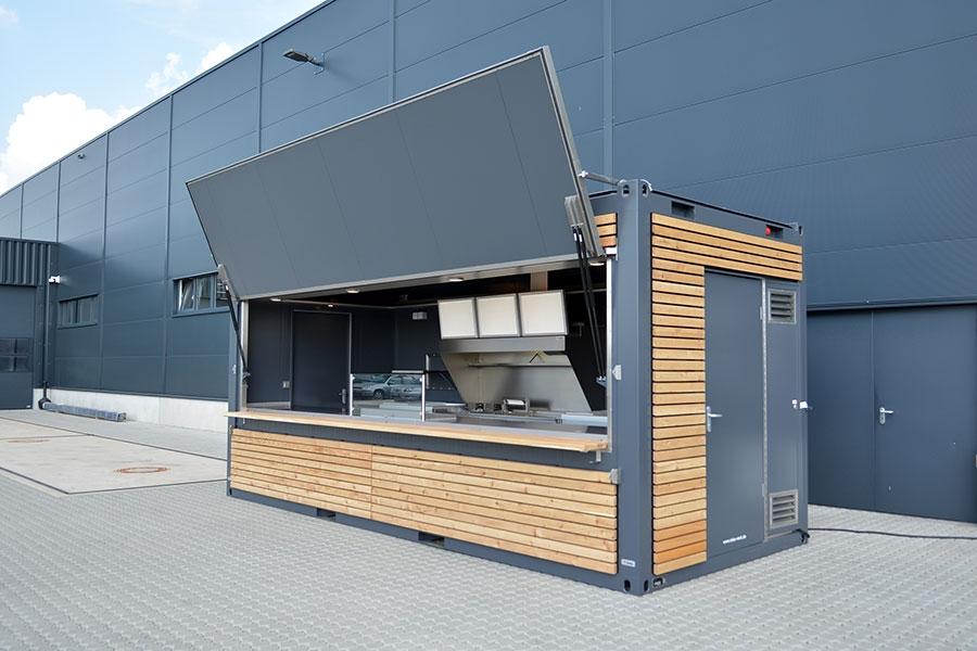 Seecontainer als Imbisscontainer und Cateringcontainer.